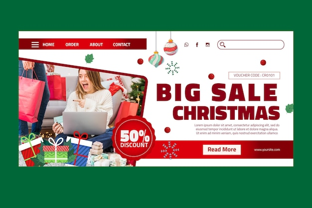 Weihnachtsverkauf landingpage vorlage