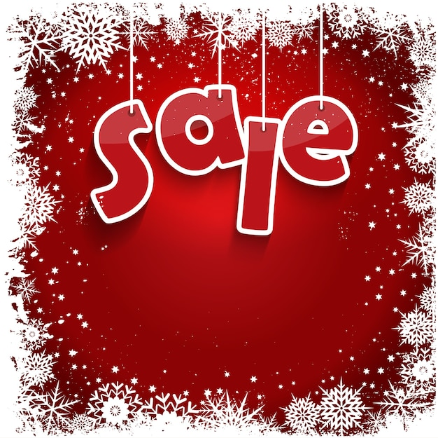 Weihnachtsverkauf mit einem grunge-schneeflockendesign