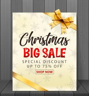 Weihnachtsverkauf mit rotem realistischem bandbanner und geschenkboxen.