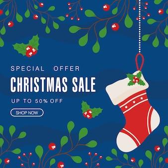 Weihnachtsverkauf mit stiefel und blätter design, weihnachtsangebot thema.