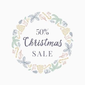 Weihnachtsverkauf rabatt hand gezeichnete skizze kranz