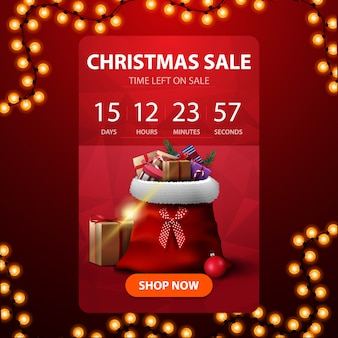 Weihnachtsverkauf, rote vertikale rabattfahne mit count-down-timer zum ende von rabatten und santa claus-tasche mit geschenken