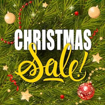 Weihnachtsverkauf schriftzug und girlanden