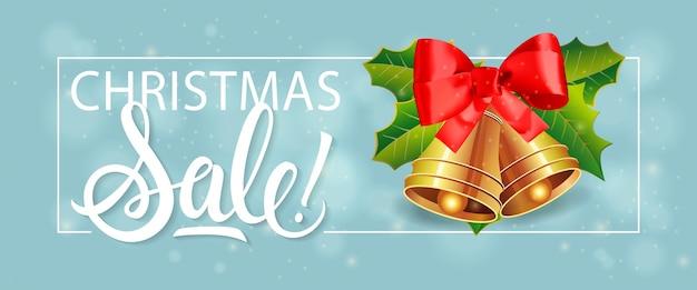 Weihnachtsverkauf schriftzug und glocken