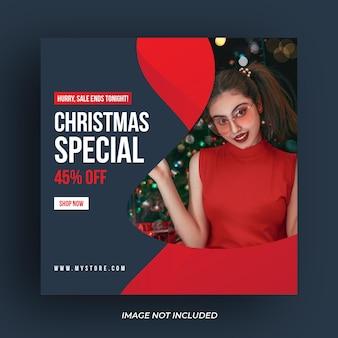 Weihnachtsverkauf social-media-post oder web-banner-vorlage