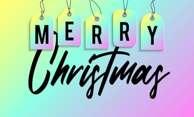 Weihnachtsverkauf-tag-banner. holographische glänzende schillernde farbe frohe weihnachten verkauf tag vector illustration.