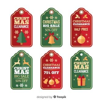 Weihnachtsverkauf tags gesetzt