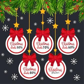 Weihnachtsverkauf tags und coupons.