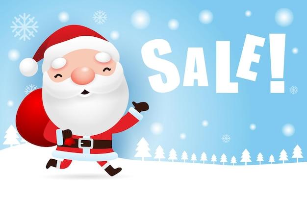 Weihnachtsverkauf und frohe neujahrsgrußkarte mit niedlichem weihnachtsmann