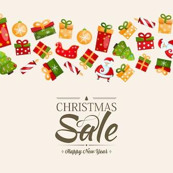 Weihnachtsverkauf und frohes neues jahr vorlage mit text über rabatte in der mitte und viele bunte geschenke