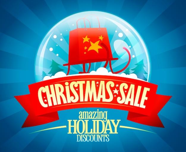 Weihnachtsverkauf vektor-banner-konzept, erstaunliche urlaub rabatte, vintage-stil illustration mit schneekugel und schlitten