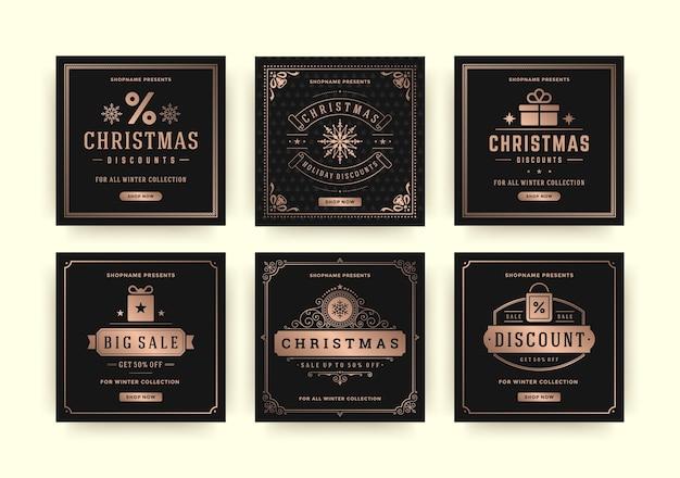 Weihnachtsverkauf web-banner für social media mobile apps. rabatt-promo-layouts für ihre website, ihr blog und ihre social-media-beiträge.