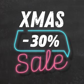 Weihnachtsverkauf zeichen / neon-stil