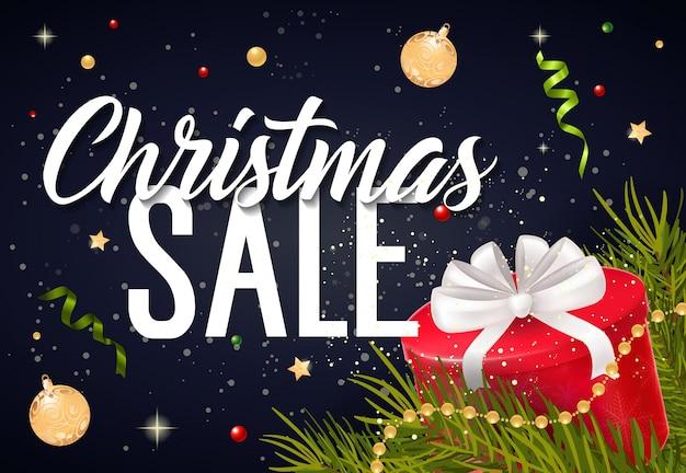Weihnachtsverkaufs-beschriftung und geschenkbox