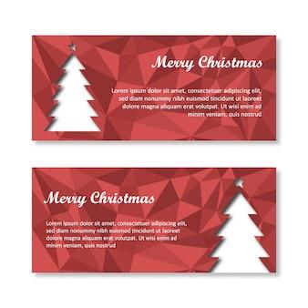 Weihnachtsverkaufs-Fahne polygonales Rot