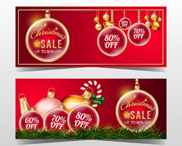 Weihnachtsverkaufs-fahnendesign stellte mit dekorationselement und rotem hintergrund ein.