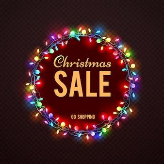 Weihnachtsverkaufs-fahnenschablone mit bunten lichtern