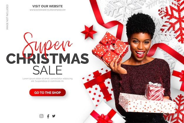 Weihnachtsverkaufs-fahnenschablone mit realistischen elementen