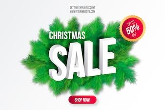 Weihnachtsverkaufs-Hintergrund mit Baumasten