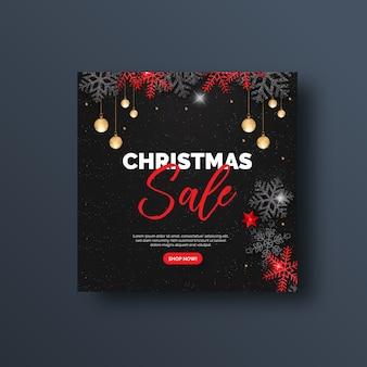 Weihnachtsverkaufs-social media-fahne oder quadratischer flieger