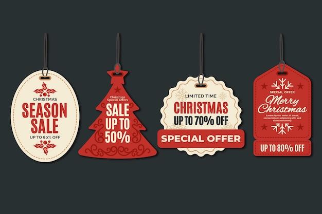 Weihnachtsverkaufs-tag-sammlung im flachen design Premium Vektoren