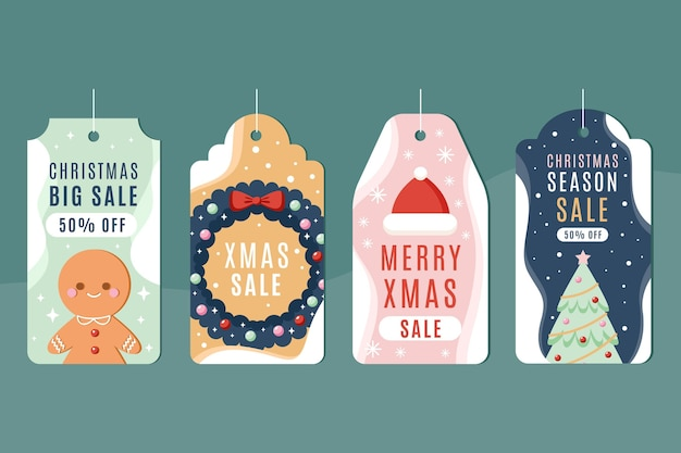 Weihnachtsverkaufs-tag-sammlung im flachen design