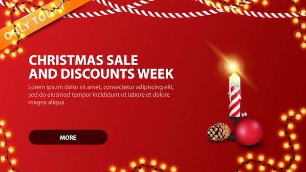 Weihnachtsverkaufs- und rabattwoche, moderne rote rabattfahne in der minimalistic art mit weihnachtskerze