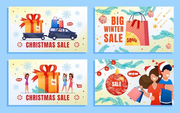 Weihnachtsverkaufs-winter, der flachen fahnen-satz annonciert