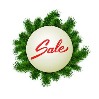 Weihnachtsverkaufsaufkleber auf tannenfahne, hand beschrifteter verkaufstext, werbung, einzelhandel, vektorillustration