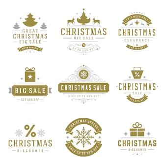 Weihnachtsverkaufsausweise mit typografischem dekorationsdesignvektor-weinleseartsatz des textes