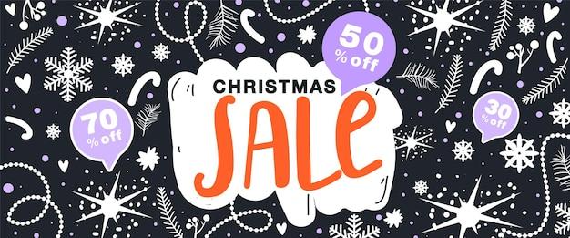 Weihnachtsverkaufsbanner blumenelemente schneeflockenstern und andere dekoration auf schwarzem hintergrund