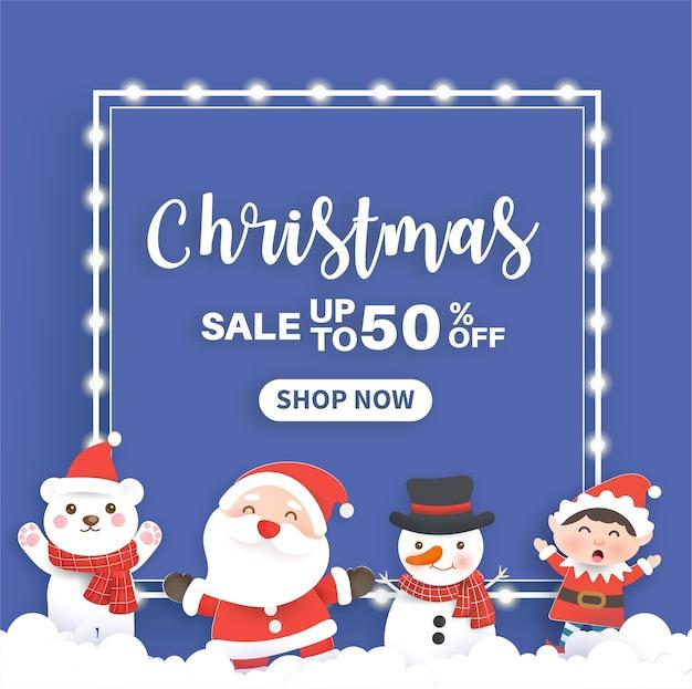 Weihnachtsverkaufsbanner mit einer weihnachtsmannklausel und freunden im schneedorf.