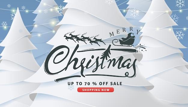 Weihnachtsverkaufsbanner mit kalligraphischer weihnachtsbeschriftung und weihnachtsmannschlitten-rentieren