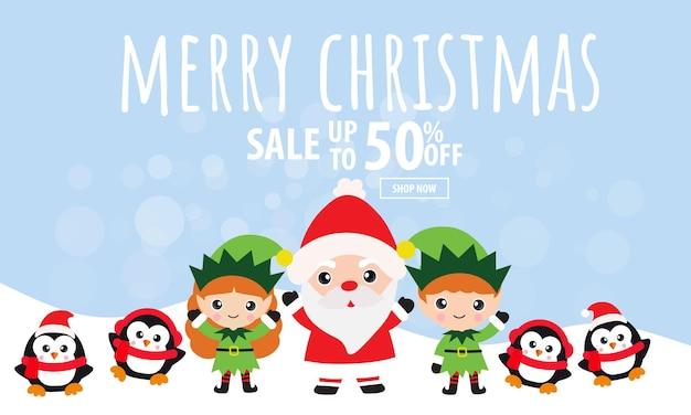 Weihnachtsverkaufsbanner mit weihnachtsmann und freunden