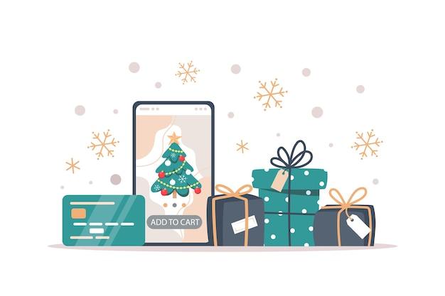 Weihnachtsverkaufsbanner, online-shopping mit einem smartphone Premium Vektoren