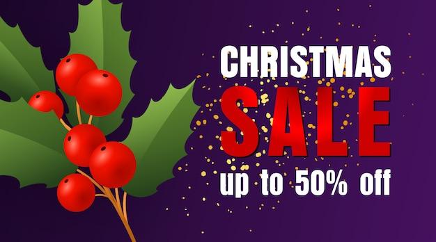 Weihnachtsverkaufsentwurf mit stechpalmenblättern und beeren und konfettis