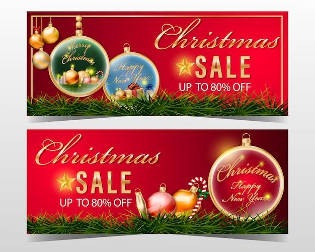 Weihnachtsverkaufsfahne eingestellt mit dekorationselement