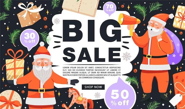 Weihnachtsverkaufsfahne lustige weihnachtsmann-charaktere mit geschenk und lautsprecher