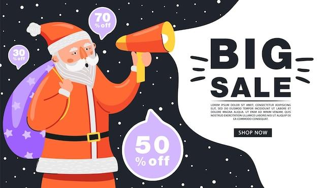 Weihnachtsverkaufsfahne lustiger weihnachtsmann-charakter, der auf megaphon schreit