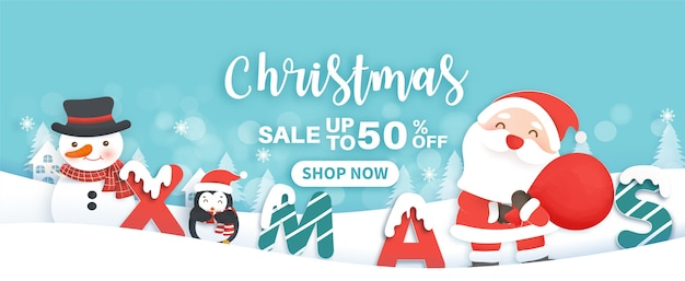 Weihnachtsverkaufsfahne mit einer niedlichen weihnachtsmannklammer und freunden im papierschnittstil.