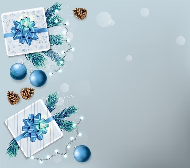 Weihnachtsverkaufsfahne mit feiertagsverzierungen