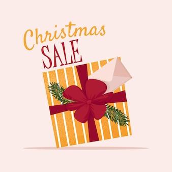 Weihnachtsverkaufsfahne mit geschenkbox netter vektorillustration im flachen stil