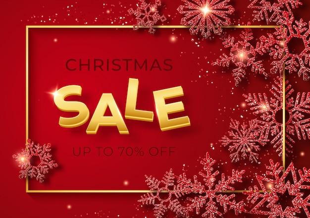 Weihnachtsverkaufsfahne mit glänzenden schneeflocken und konfettis