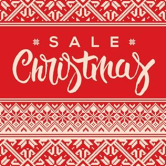 Weihnachtsverkaufsfahne mit schriftzug und hässlichem pulloverstil