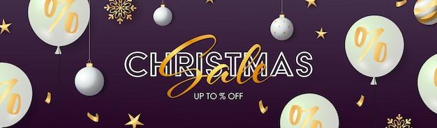 Weihnachtsverkaufsfahne mit weißen ballonen