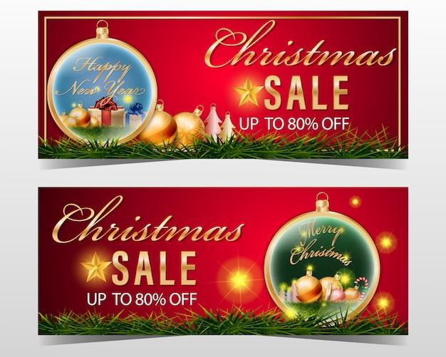 Weihnachtsverkaufsfahne stellte mit element auf rotem hintergrund ein.