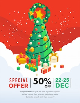 Weihnachtsverkaufsfahne und -flugblatt mit weihnachtsbaum und geschenk unter ihm