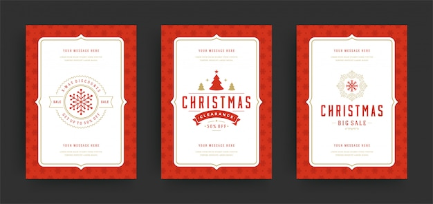 Weihnachtsverkaufsflieger oder fahnen entwerfen gesetzte rabattangebote und schneeflocken mit aufwändiger dekoration