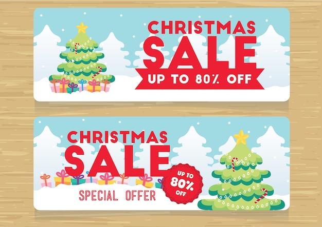 Weihnachtsverkaufsförderungs-fahnensatzvektor