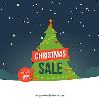 Weihnachtsverkaufshintergrund mit kiefer